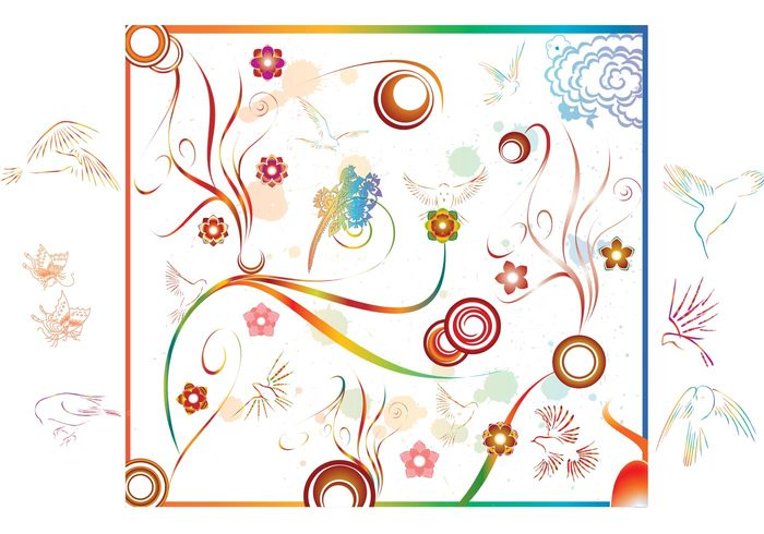 swirl spirals scroll modern isolated frame flowers detailed decoration colorful clip art birds