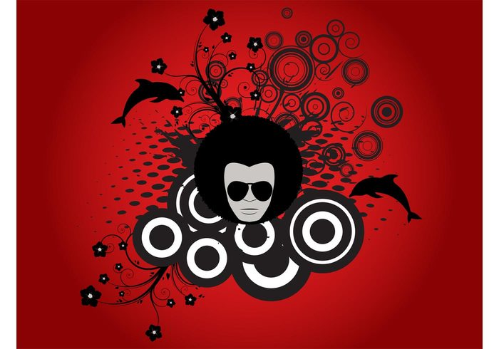 swirls sunglasses Stems shades pattern man hair flyer flowers event dots dolphins circles Aquatic animals afro