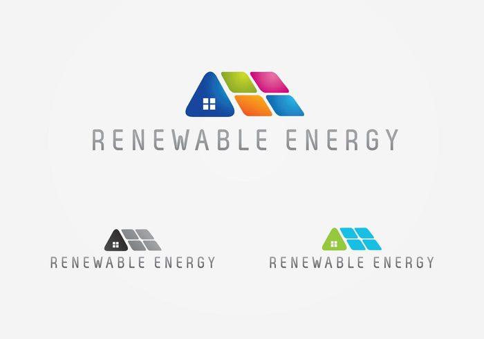 sustainable solar renewable panel logo house energy Alternative