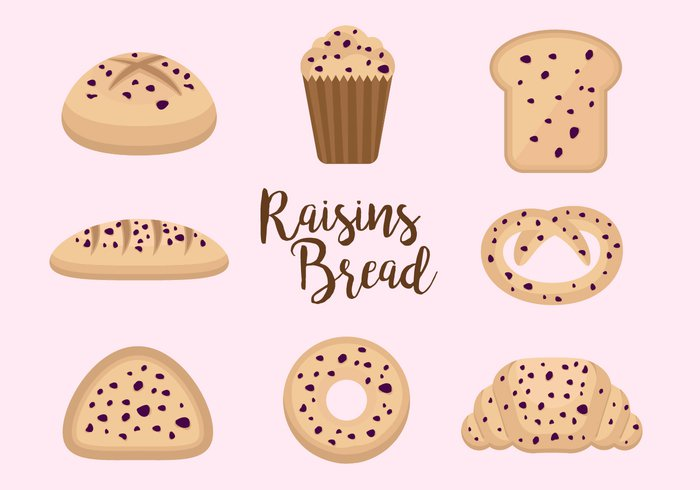 sesame raisins raisin pastry Loaf food flat element delicious croissant concept breakfast bread bakery bake background agriculture