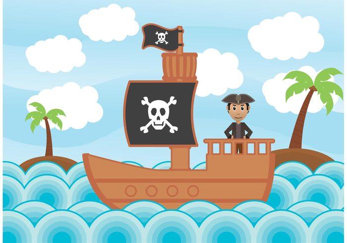 tree skull ship sea Rum pirate ship Pirate hat pirate captain pirate background pirate island hook happy fun flat flag pirate danger cute coconut
