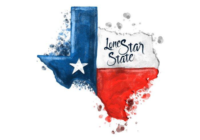 watercolor vector USA texas san antonio map lone star state houston geography flag el paseo drops Dallas background austin