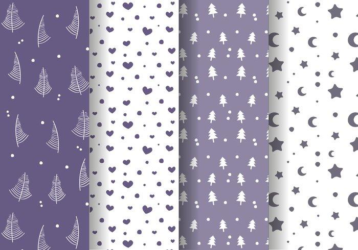 winter trees stars star snowy snowflake snow seamless pattern seamless santa claus santa present pattern night moon hearts cold background