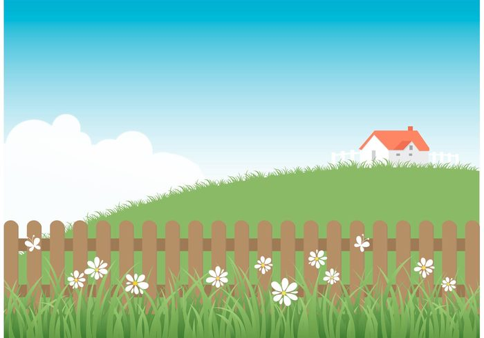 yard wooden wood vector summer spring pure picket fence picket nature meadow landscape illustration house hill green grass fresh field fence environment empty domed design deserted curve background