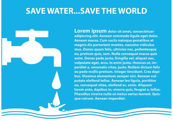 world water illustration water waste vector valve tube stream splash save water save Sanitary pure poster Plug planet pipe nature liquid leaking illustration house home help graphic globe frame flowing flow faucet environment drop drip drink drawn drawing design concept cold circle bubbles blue