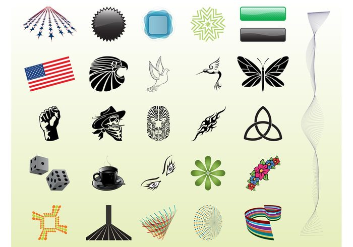 USA templates tattoos stickers stars mug luck logos flowers flag eyes dice decorations coffee buttons banners america abstract