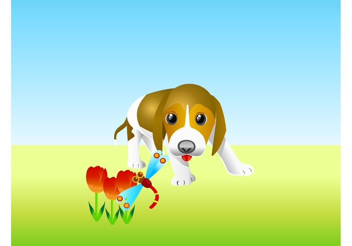 young sky puppy playful outdoors kids insects grass funny fun flowers floral dragonfly dog cute Cartoons bug