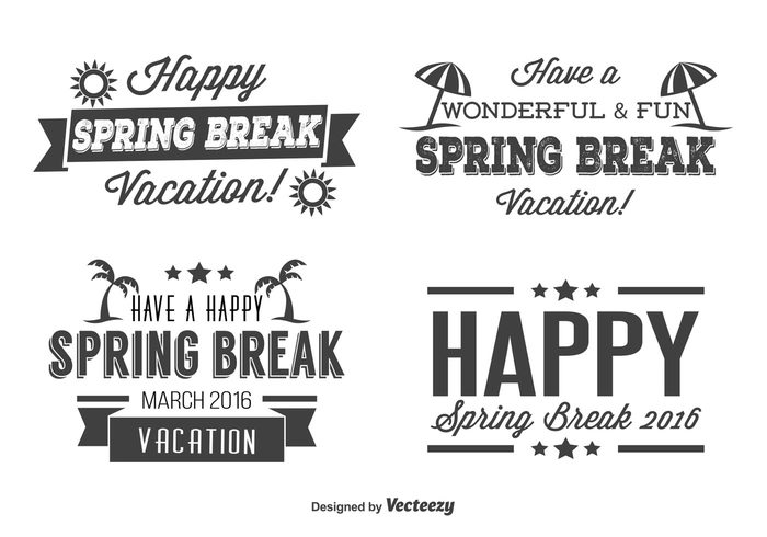 vintage vacation typography typographic labels text sun summer students stamp Spring break spring sign set school retro labels retro palm trees on old mark March labels label set label isolated ink happy fun event collection break beach April appear