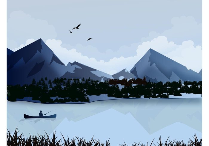 water vacation tree sky relax reflection nature mountain man grass forest fishing fisherman cloud boat bird