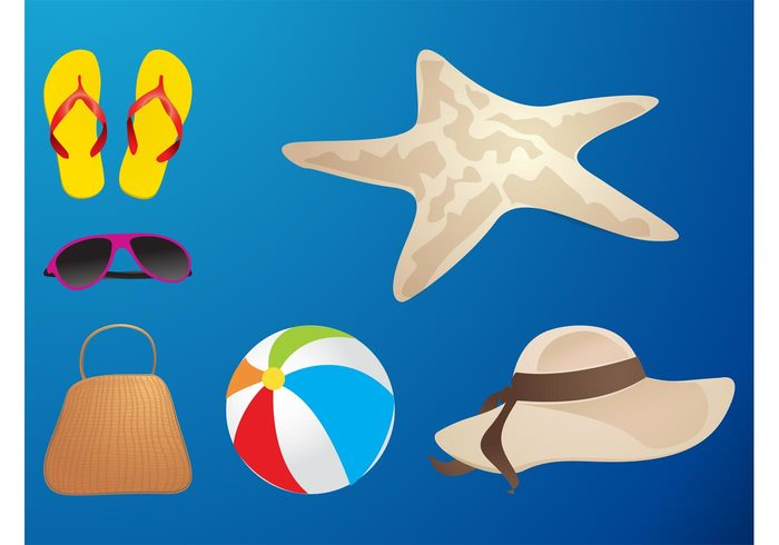 vacation sunglasses starfish shoes shades seaside sea purse holiday hat flip flops fashion decorations beach ball bag accessories