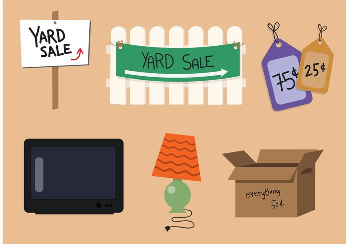 yard sale yard tag store space signs sign shopping sell sale retail residential price picket fence old objects object junk garage sale garage event customer cardboard buy box banner back yard antique 75 cents 50 cents 25 cents