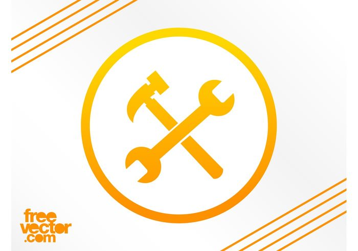 wrench tools round repair mechanic logo icons hammer fix circle badge