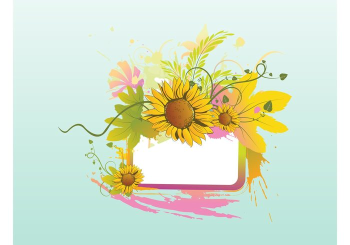 summer Stems spring splashes petals nature vector nature grungy flowers flora colorful blossom bloom