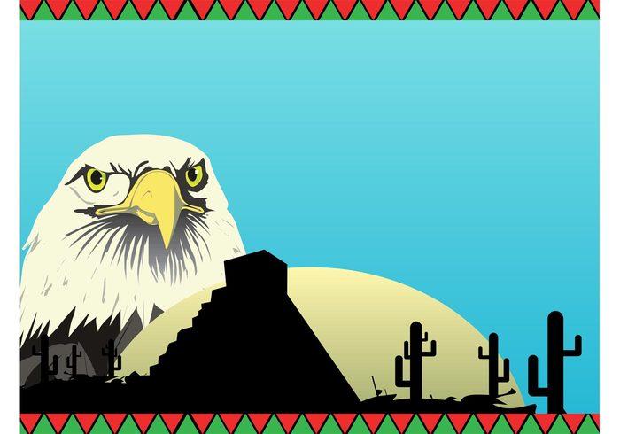 triangles sunset sunrise sky pyramid nature mexico eagle desert culture Cactuses building bird