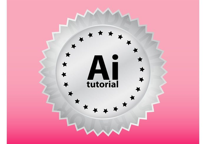 tutorial sticker stars software shiny round rays gradient decal creativity creative circle badge Adobe Illustrator