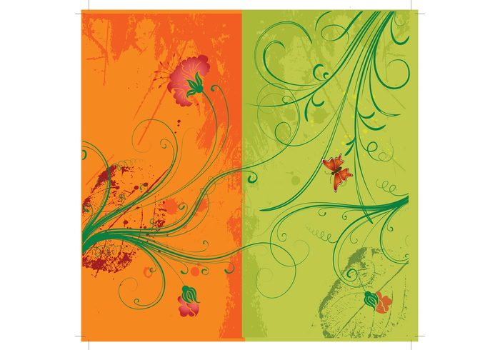 scroll retro plant orange nature natural leaf green flower floral elegance curl butterfly beautiful background