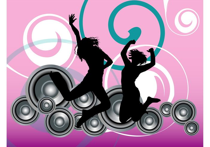 women swirls speakers silhouettes party nightlife jump girls disco decorations dancing dance club