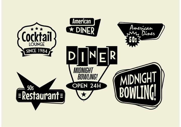 vintage restaurant vintage typographic sticker steakhouse sixties signs signboard retro restaurants logo label hotdog grilled meat grill food fifties diners diner sign diner coffee cocktail sign cocktail lounge classic cafe business bowling sign Bowling club banner badge antique american advertisement 50s diner 1960 1950