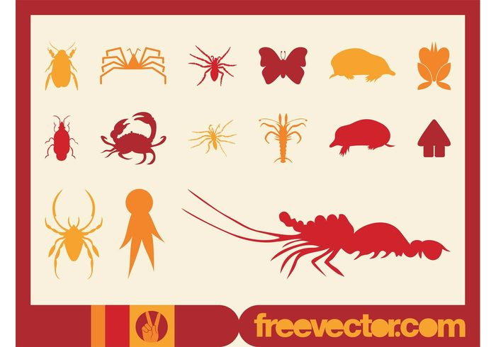 symbols spiders silhouettes person nature logos lobster insects icons house home flower decals crab animals