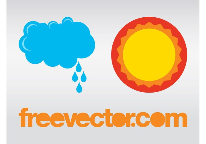 weather sunshine sun raindrops rain nature logos icons forecast drops cloud climate circle