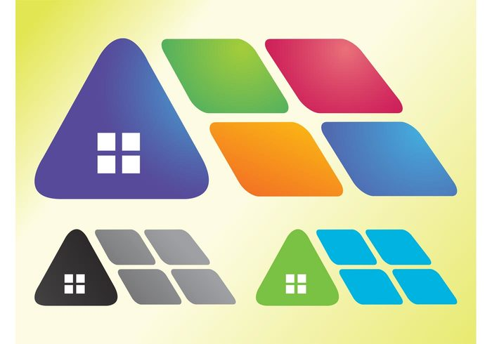 Windows triangles stickers squares real estate Property logos houses homes Geometry diamonds Diamond shapes construction architecture