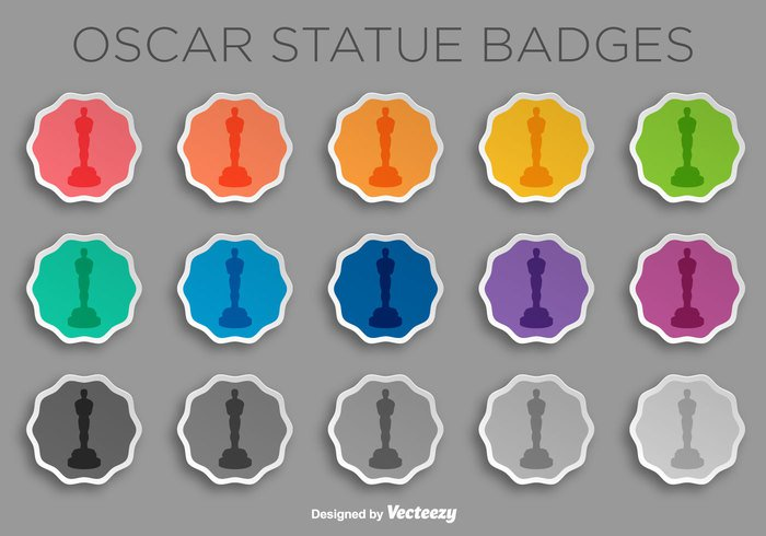 white video vector stickers Statuette statue sign set season popcorn oscar statue Oscar movie icon film design colorful cartoon buttons background award