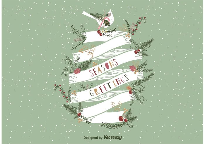 year wreath winter vintage type season ribbon retro pine new merry holly holiday happy greetings greeting green gift frame flower fir festive fancy Eve envelope elegant drawn decorative christmas card border banner background 2016