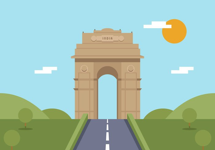 wavy vector vacation travel tourism state Republic Patriotism patriotic Patriot orange national nation monument indian india gate india illustration holiday green graphic gate editable design Delhi culture country concept color city capital banner background August Asian asia abstract