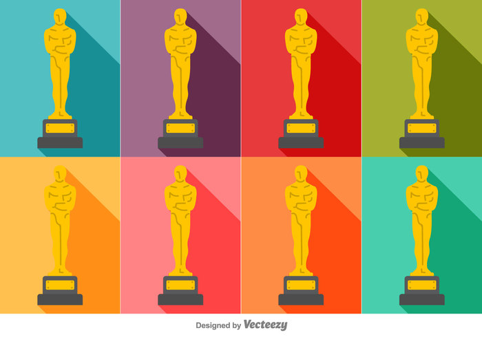 white video vector stickers Statuette statue sign set season popcorn oscar statue movie icon film design colorful cartoon buttons background award