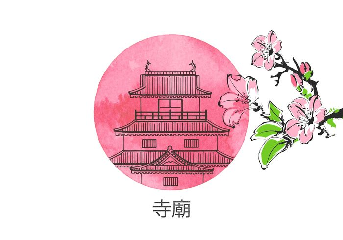 vector Tradition temple style spring sketch scenery scene sakura Place pencil Pavilion oriental orient old nature landscape Japanese japan ink illustration house history historical hand drawn graphic east drawn design country construction chinese china cherry blossom building blossom blooming beauty beautiful background asia arts and culture art architecture antique ancient
