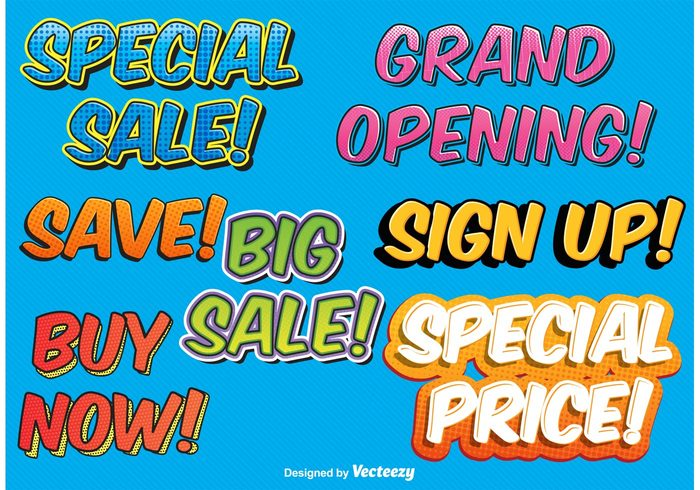 vector text tag symbol style store splash special sale sign up sign shopping save sale labels sale promotion poster pop art pop offer message labels icon grand opening funny fashion discount comic labels comic clearance Cartoon style cartoon buy now buy big banner background advertising
