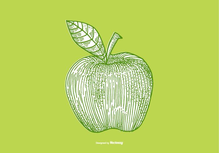 Woodcut vintage tree retro print making Line Drawing line art leaf green fruit food etching engraving crosshatch background apple