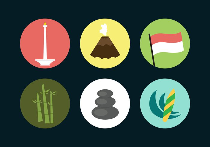 wave volcano travel tower tourist tourism temple symbol surf stone skyline silhouette panoramic monument monas modern landmark Jakarta indonesia illustration icon flag famous culture city building Borobudur board bamboo bali background Asian asia architecture abstract