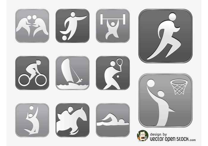 symbols sports silhouettes Races olympics Olympic games logos icons horse fitness equestrian bicycle balls