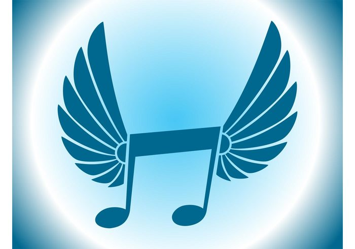 wings winged symbol notes musical symbol music logo icon flying fly