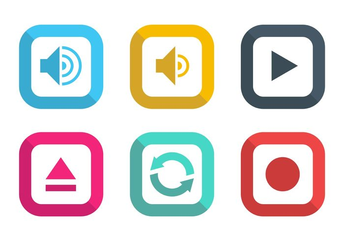 web volume control symbol stop start square sound sign shadow set repeat record push player play button icon play pause multimedia internet illustration icon frames controls control color buttons button audio
