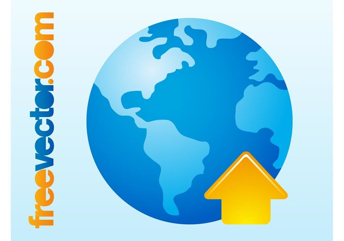 world pointer planet logo icon global geography earth continents arrow