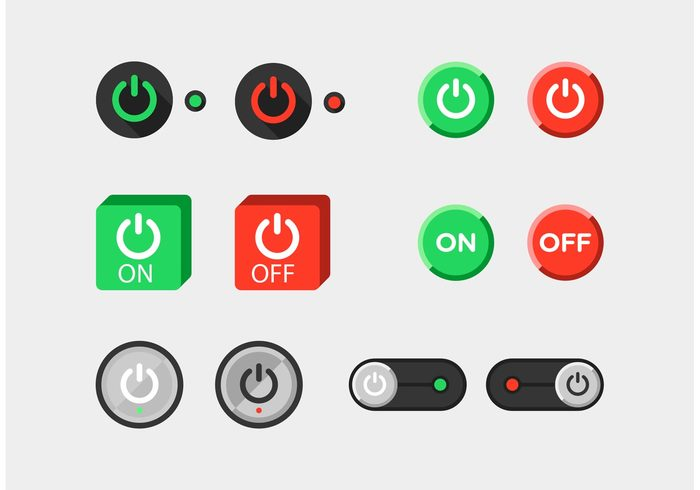 ui button Turn on turn off switch on switch off switch red light power on power off power button power on off buttons on off button on button on off button off minimal Green Light flat button