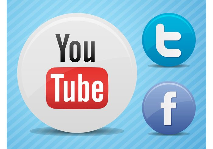 youtube websites web twitter technology Social networks online logos internet icons Facebook buttons badges