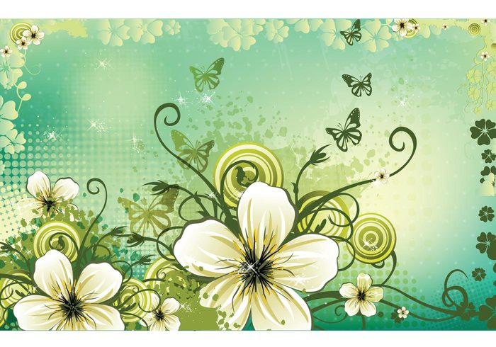 spring leaves green flowers floral flourish floral Composition butterfly background abstract