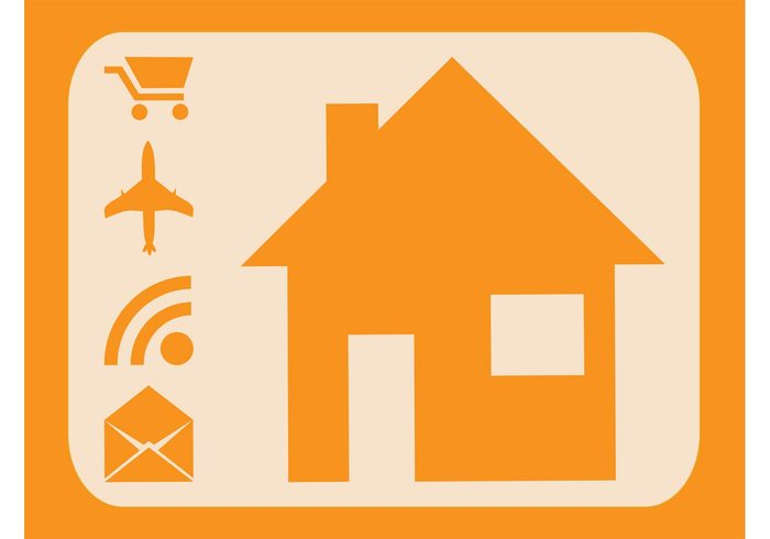 symbols shopping cart RSS pictograms mail logos icons house home envelope email airplane