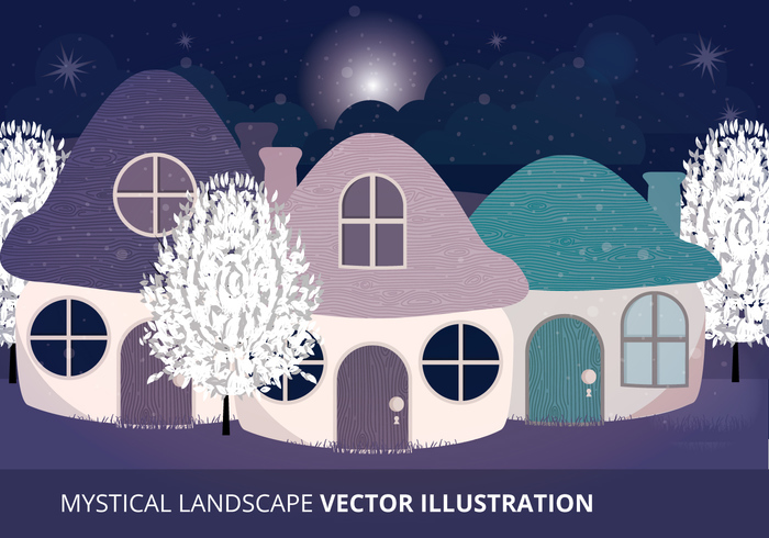 winter night winter white trees tiny houses stars outdoors night nature mystical landscape mystical mushrooms mushroom houses mushroom house mushroom moon landscape house fantasy cute