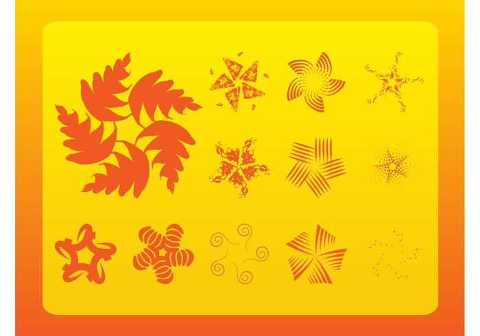 symbols stars spring rays nature logos lines icons grunge flowers floral decorations abstract