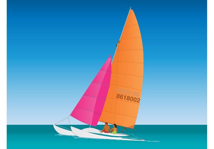 woman Watercraft vacation summertime summer sails sailing sail Recreation man holiday couple boat