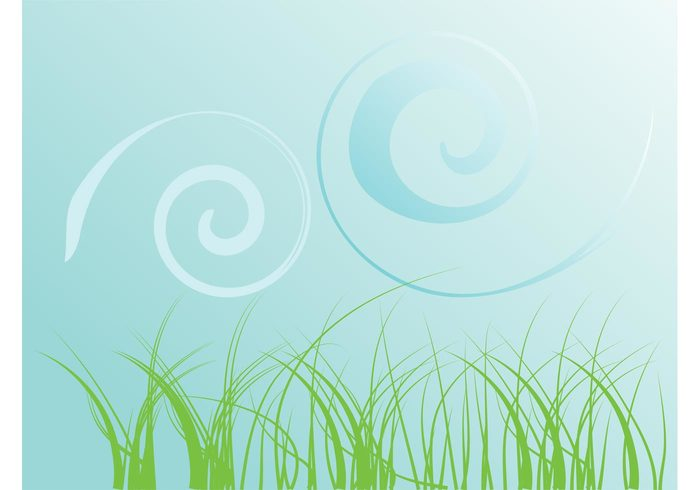 wallpaper template swirls Stems spring spirals plants nature lines landscape grass field decorative decorations background backdrop abstract