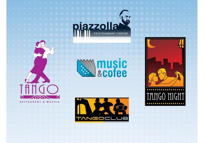 Tango vectors Tango logo passion night music dancing dance couple club beauty Astor piazzolla accordion