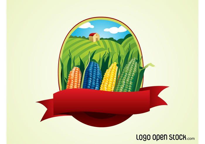 sky rural ribbon logo land icon fields farming farm crops corn Cobs clouds banner