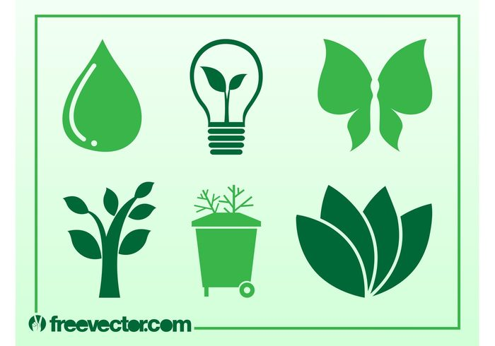 tree trash can recycling recycle plants nature logos leaves icons green energy Garbage can ecology eco drop butterfly bulb
