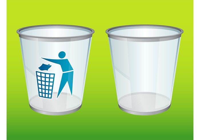 Trash vectors symbol Stylized man sticker silhouette shiny recycling recycle person logo junk glass bin