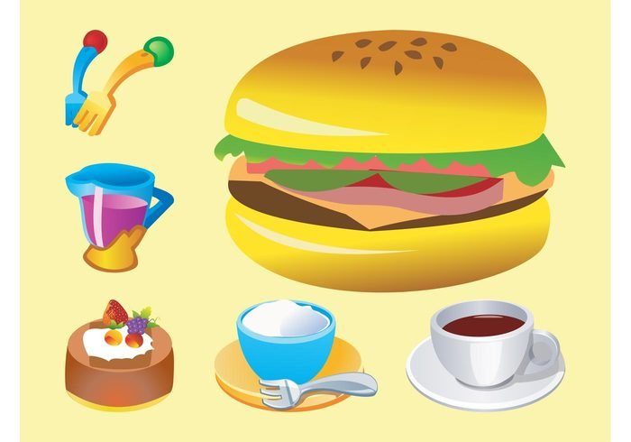 sandwich logos juice icons hamburger forks food fast food eat drinks dessert comic coffee cartoon cake
